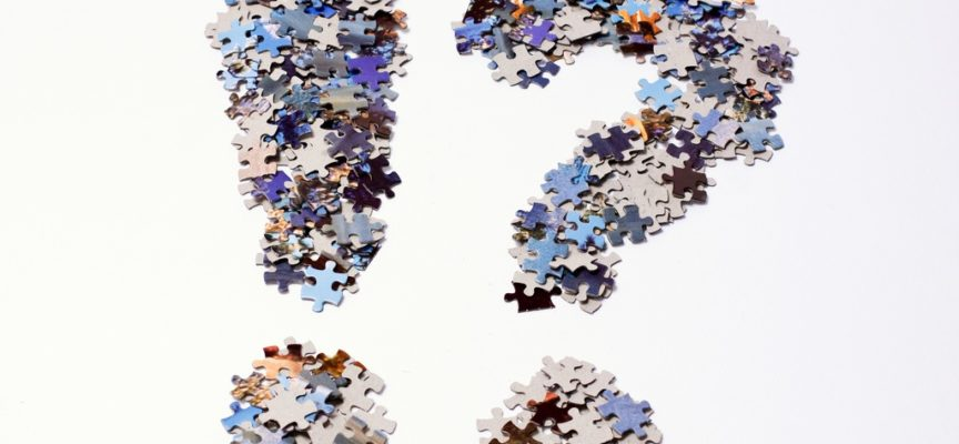 An exclamation and a question mark made of jigsaw puzzle pieces. These are mainly colored in shades of blue and brown with a gray cardboard back.
