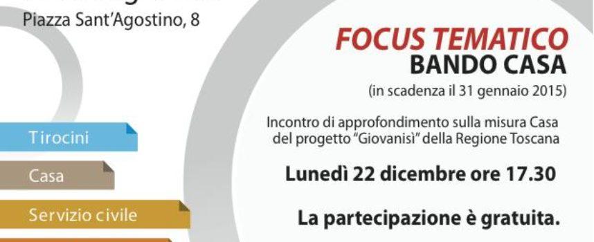 Focus tematico Giovanisì: bando casa