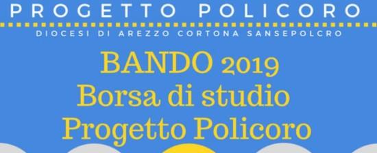 Bando per l'assegnazione di Borsa di studio per l'anno 2019 Animatore di Comunità 1° anno Progetto Policoro Diocesi di Arezzo Cortona Sansepolcro