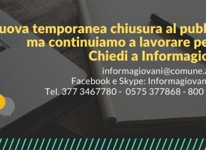 Informagiovani Arezzo da lunedì: 16 novembre chiusura del servizio al pubblico e prosecuzione a distanza