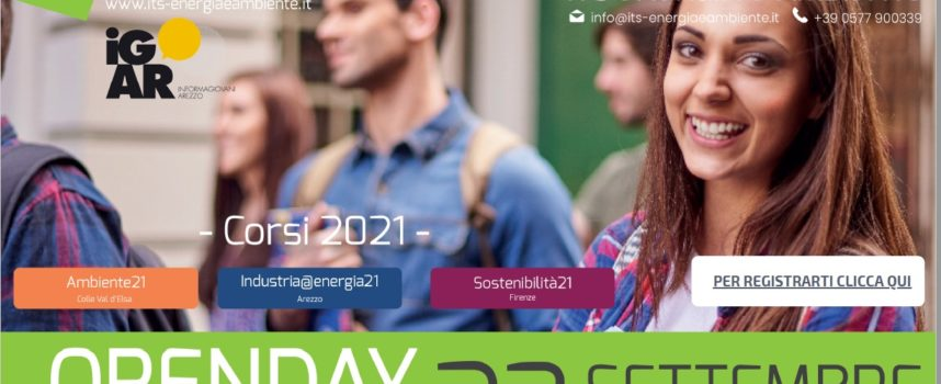 Fondazione ITS Energia e Ambiente: presentazione dei percorsi di Arezzo, Firenze e Colle Val d'Elsa all'Openday presso Informagiovani 23 SETTEMBRE 2021